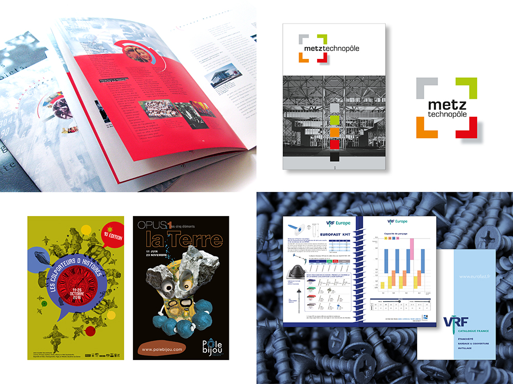 UXICOM publications, catalogues professionnels, identité visuelle, divers supports, communication et développement digital metz