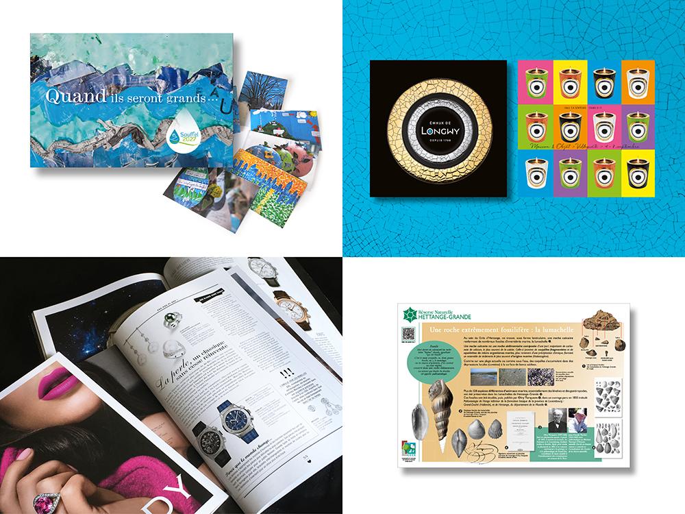UXICOM publications, catalogues professionnels, identité visuelle, signalétique, divers supports, communication et développement digital metz